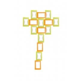 KIT cadres puzzle LA FLEUR 15pcs (6xOrange + 9xVert)