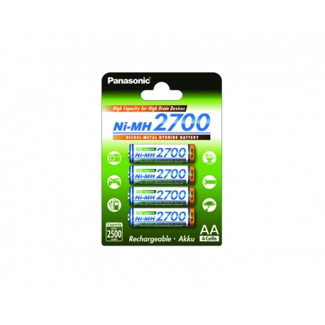 PANASONIC - Blister de 4 piles rechargeables LR06-AA - 2700 mAh