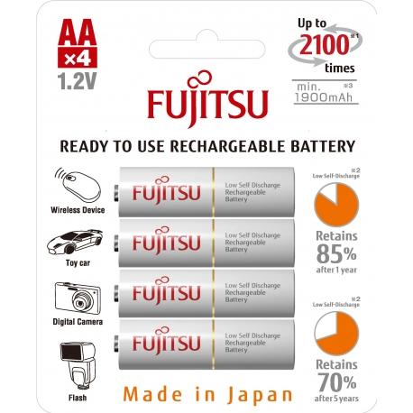 FUJITSU - Blister 4 Piles Rechargeables AA - NiMh - 1900mAh