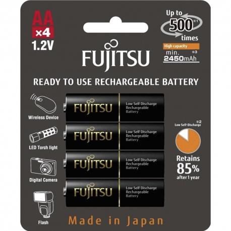 FUJITSU - Blister 4 Piles Rechargeables AA - NiMh - High Capacity