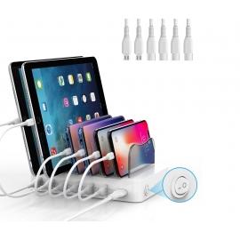 Station de Charge smartphones - 6 Port - 4xType C - 2xMicro-USB