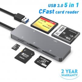 Lecteur de cartes multi-fonctions - 5 cartes: SD, TF, XD, CF, Cfast