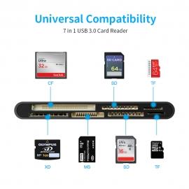 Lecteur de cartes USB 3.0 - 7 cartes: 2xSD, 2xMicroSD, CF, MS, XD