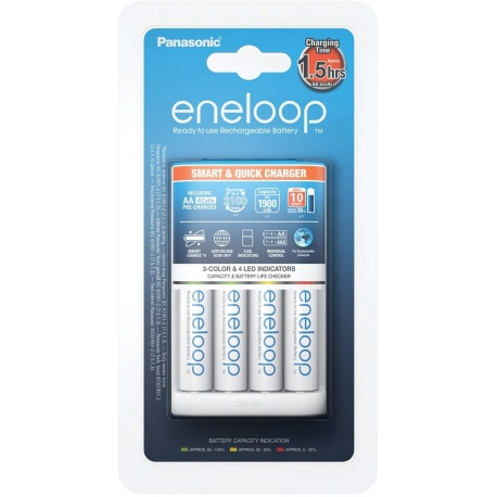 ENELOOP-Chargeur 2h BQ-CC55 + 4 Piles AA-NiMh-1900Ah (piles blanches)